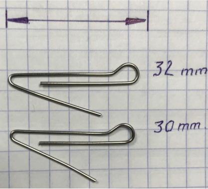 Скрепка под Чебурашку 30 мм (D 0.7) - 50шт