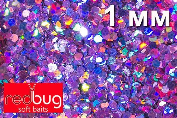Блестки Сиреневая Голография 1мм 10гр Redbug